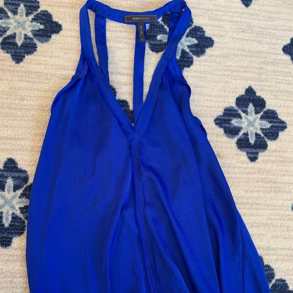 BCBGMaxAzria Tops - BCBG MAXAZRIA royal blue silk open back tank